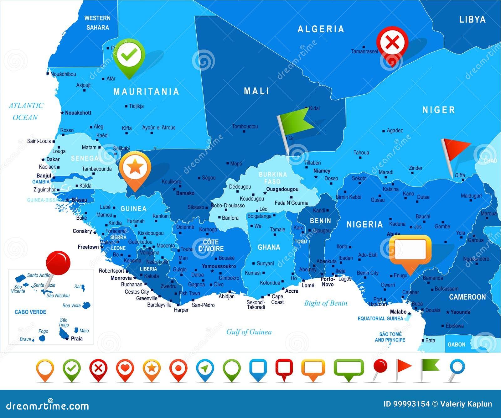 West Africa Map Vector Illustration Stock Illustration