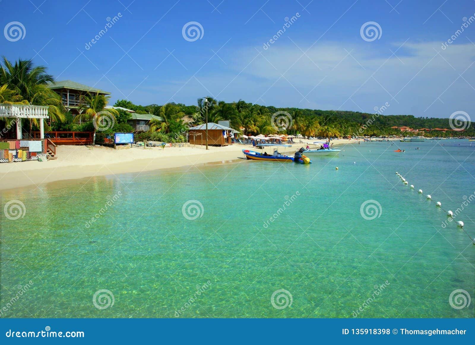 Clear tropical waters at white sand beach on Roatán island, Honduras