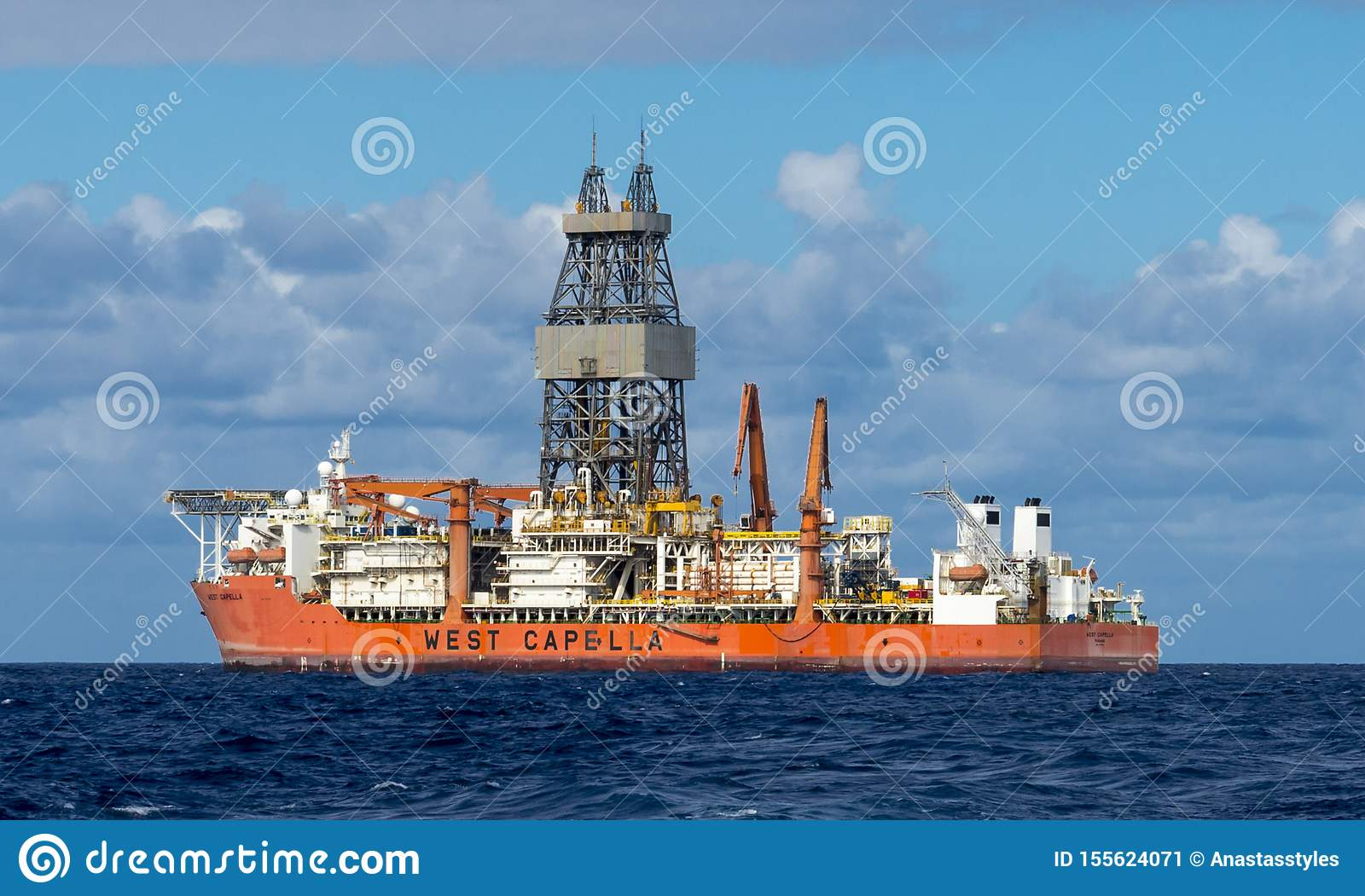 West Capella drillship for offshore deepwater drilling in Atlantic ocean nearby Tenerife, Canary Islands, Spain