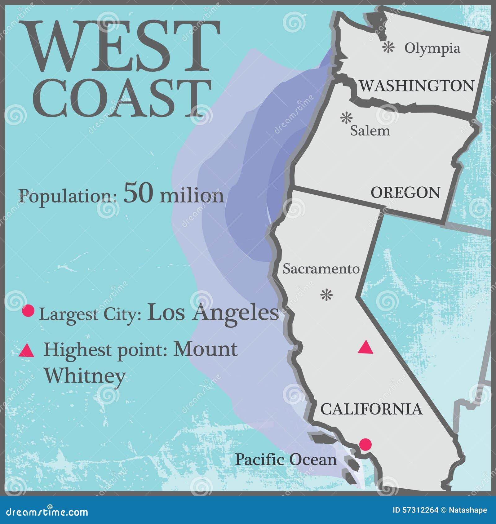 West Coast Stock Vector Illustration Of Population