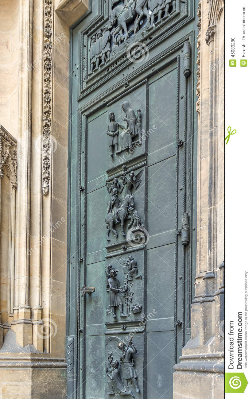 West door of the cathedral of st vitus stock photo for Door z prague