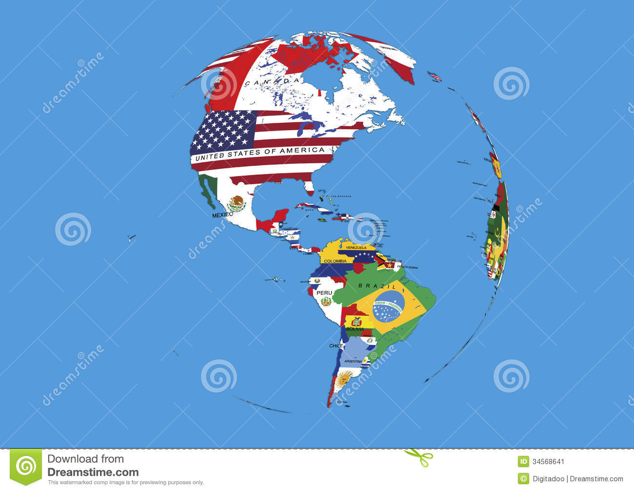 West Hemisphere North South America World Globe Flags Map Stock