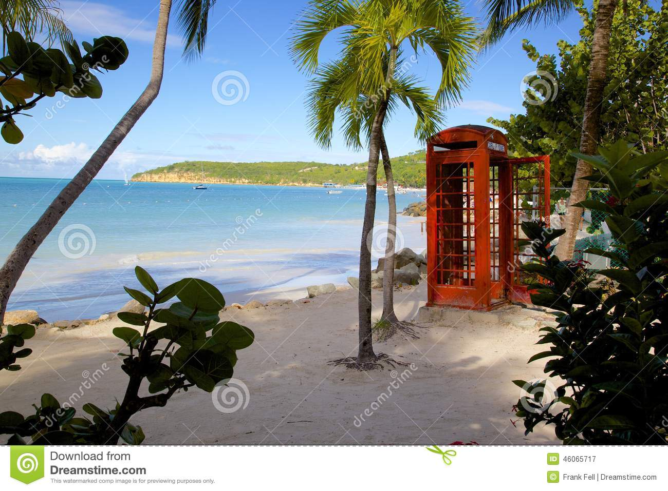 West Indies, Caribbean, Antigua, St Georges, Dickenson Bay, Beach & Red Telephone Box