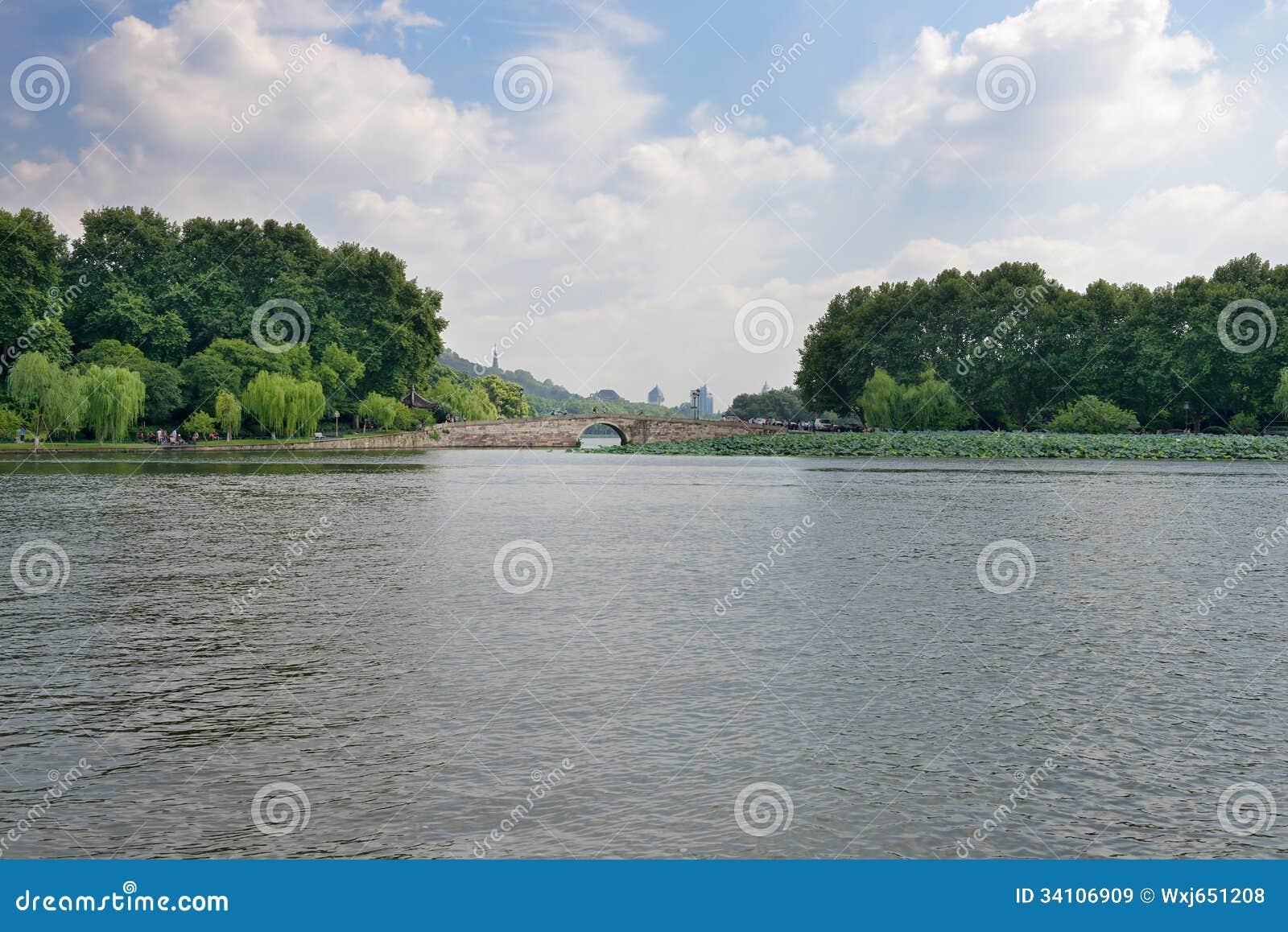 West Lake Scenery Stock Image  Image Of Trees  Boats