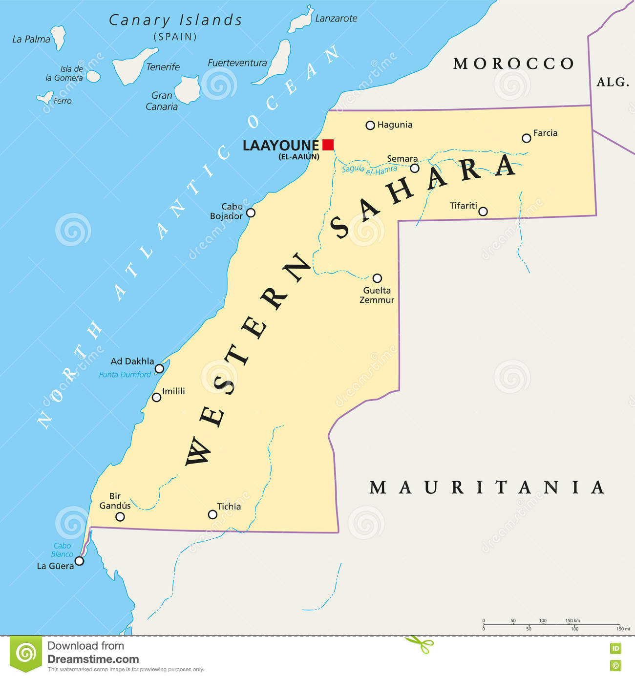 Sahara Karte.West Sahara Political Map Vektor Abbildung Illustration Von Maghreb