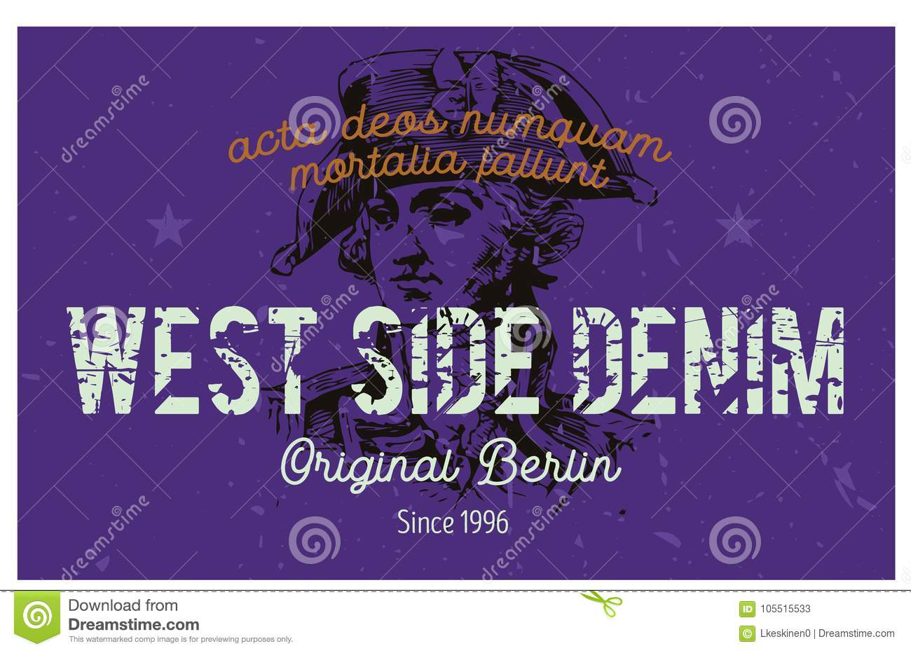 West Side Denim Berlin Clothing Tag Stock Vector Illustration Of