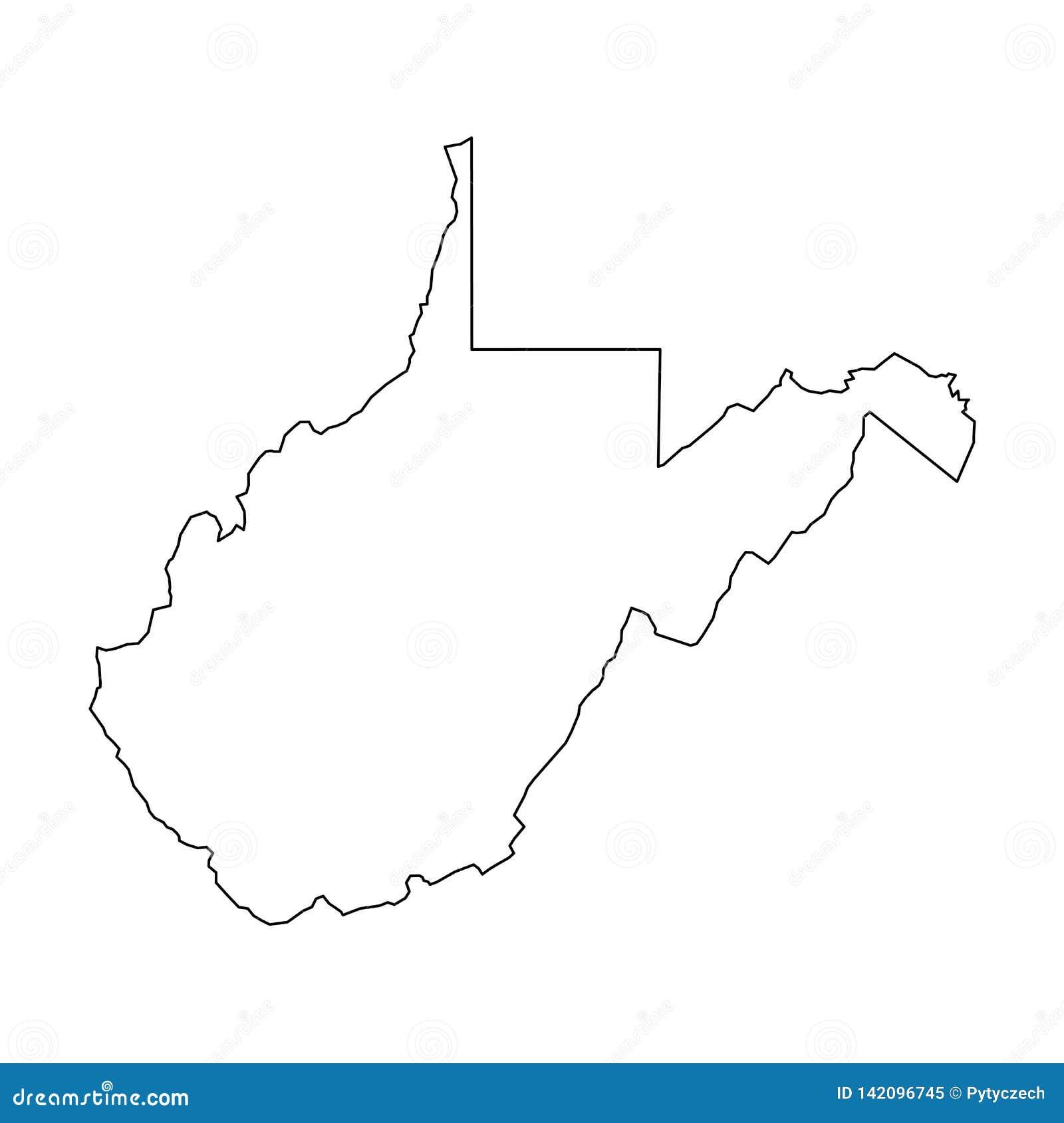 West Virginia, estado de EUA - mapa preto contínuo do esboço da área do país Ilustração lisa simples do vetor