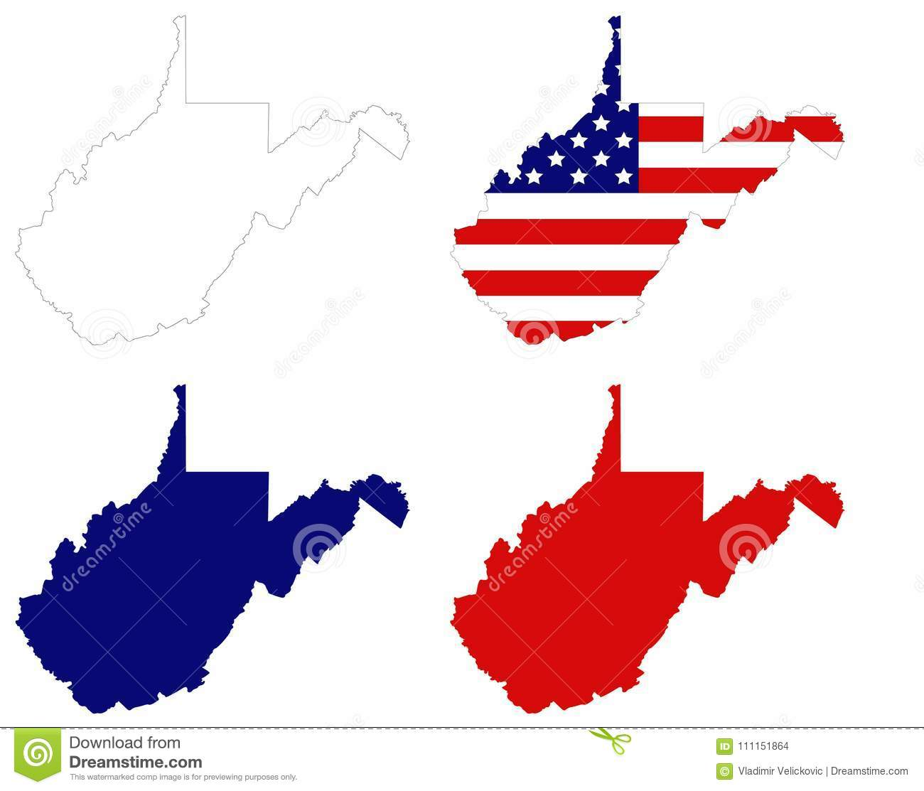 West Virginia Map With USA Flag - State In The Appalachian Region Of ...
