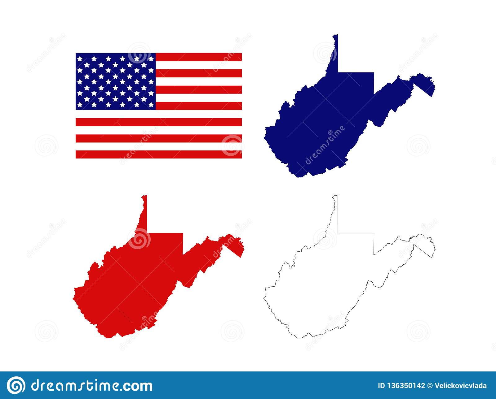West Virginia Maps With USA Flag - State In The Appalachian Region ...