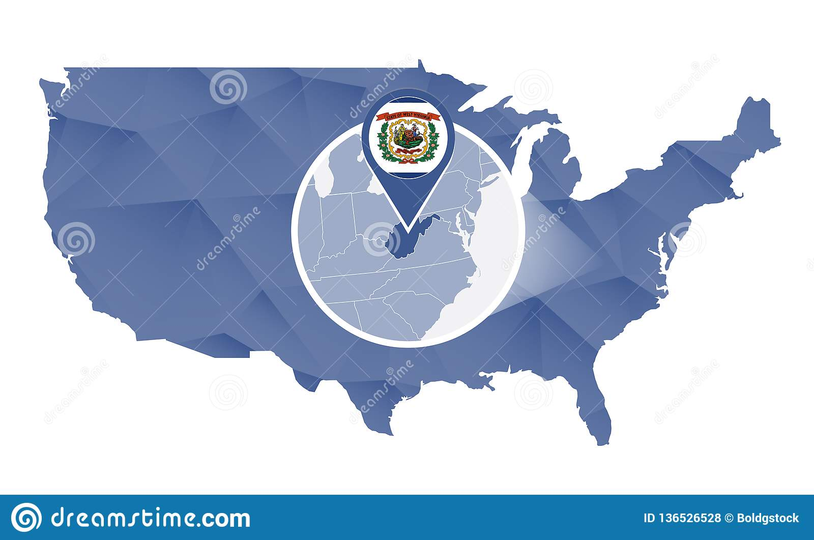 West Virginia State Magnified On United States Map Stock ...
