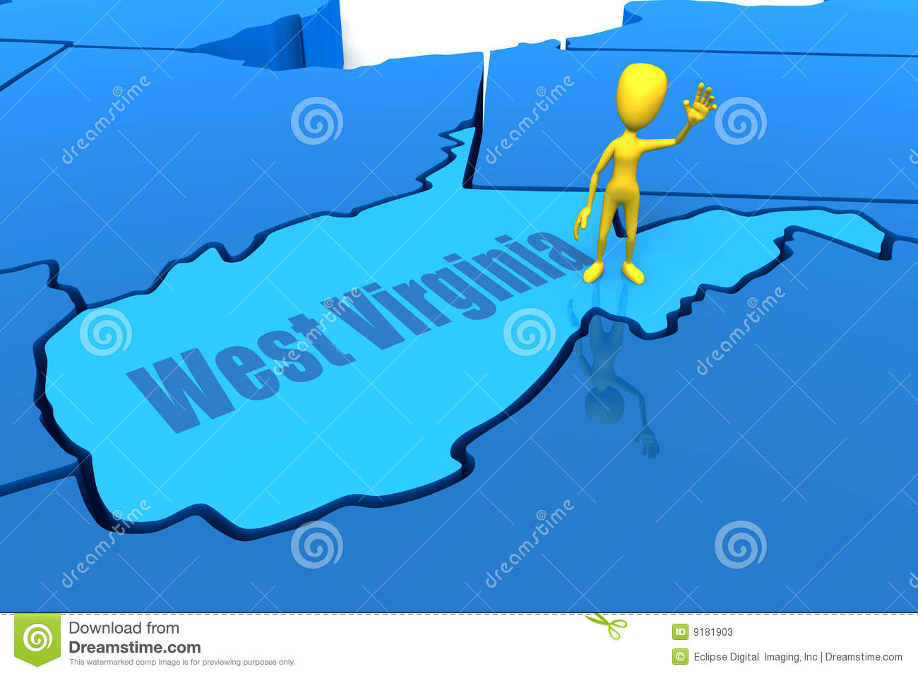 West Virginia State Outline With Yellow Stick Figu Stock