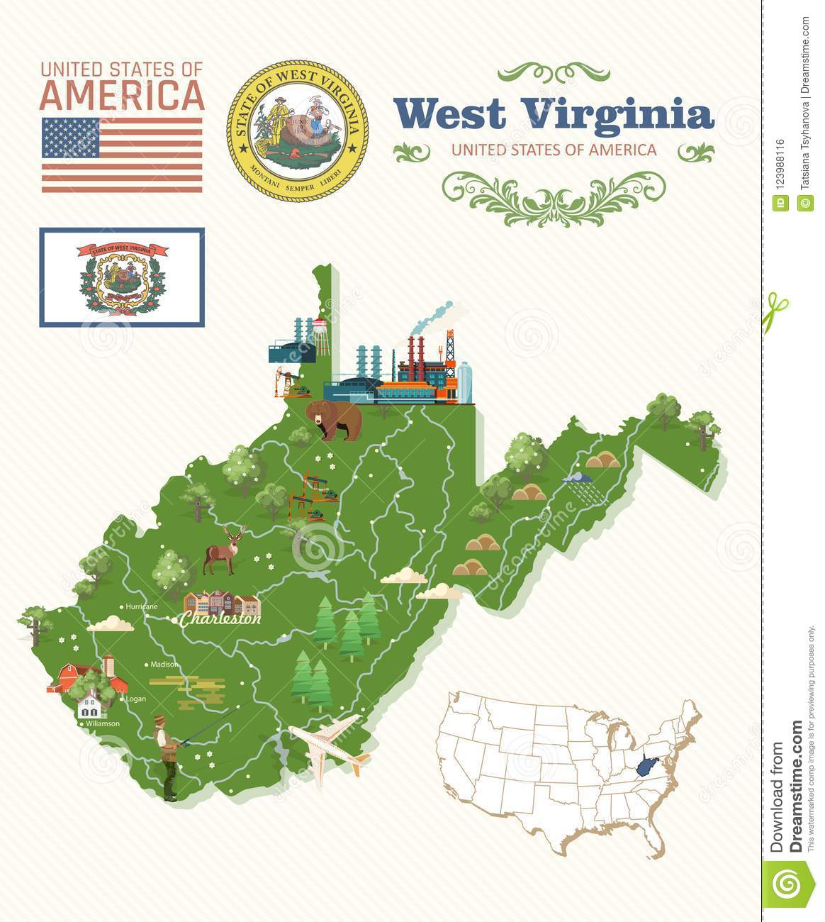 West Virginia Travel Postcard. USA Colorful Poster With Map Stock ...