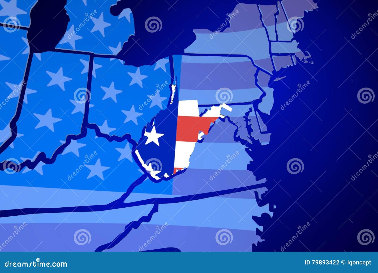 West Virginia USA United States America Flag Map Stock Illustration ...