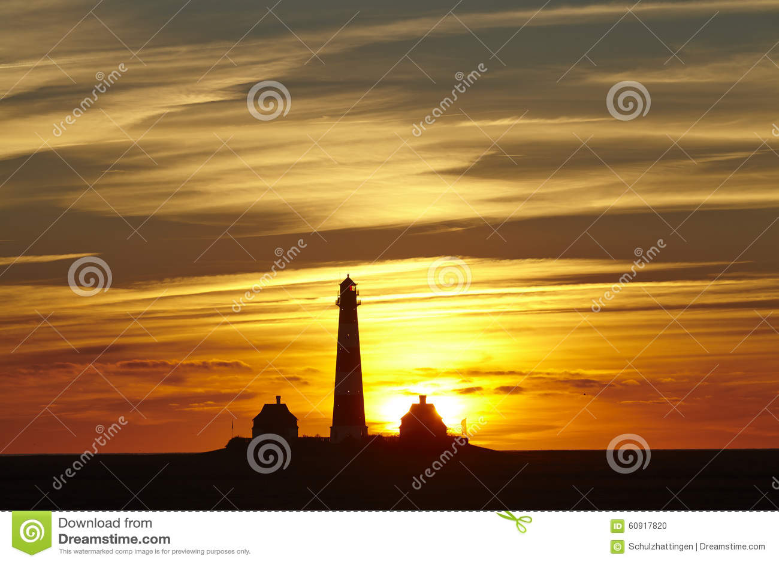 Westerhever (Γερμανία) - φάρος στο ηλιοβασίλεμα
