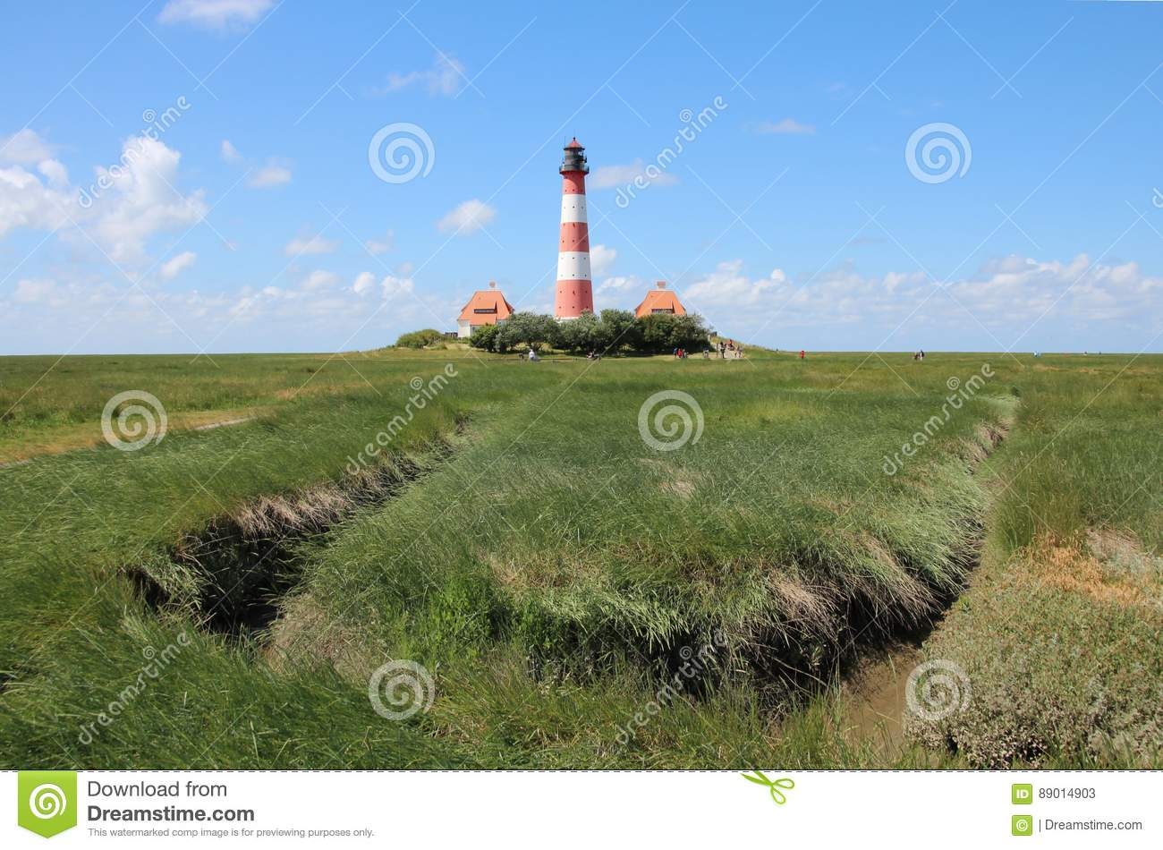 The Westerhever Lighthouse at the coast of Schleswig-Holstein in Germany
