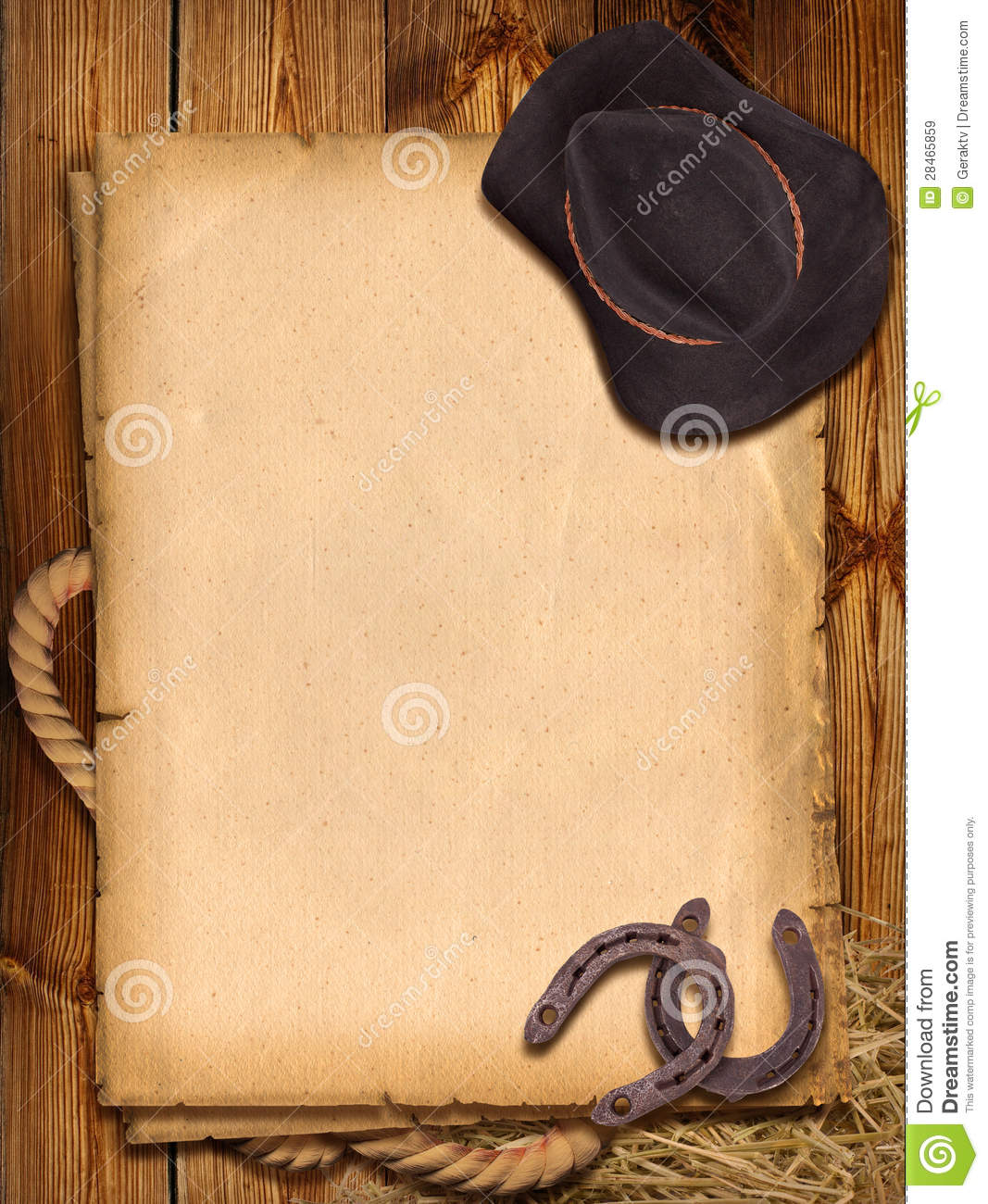 Western background with cowboy hat and horseshoes for design.