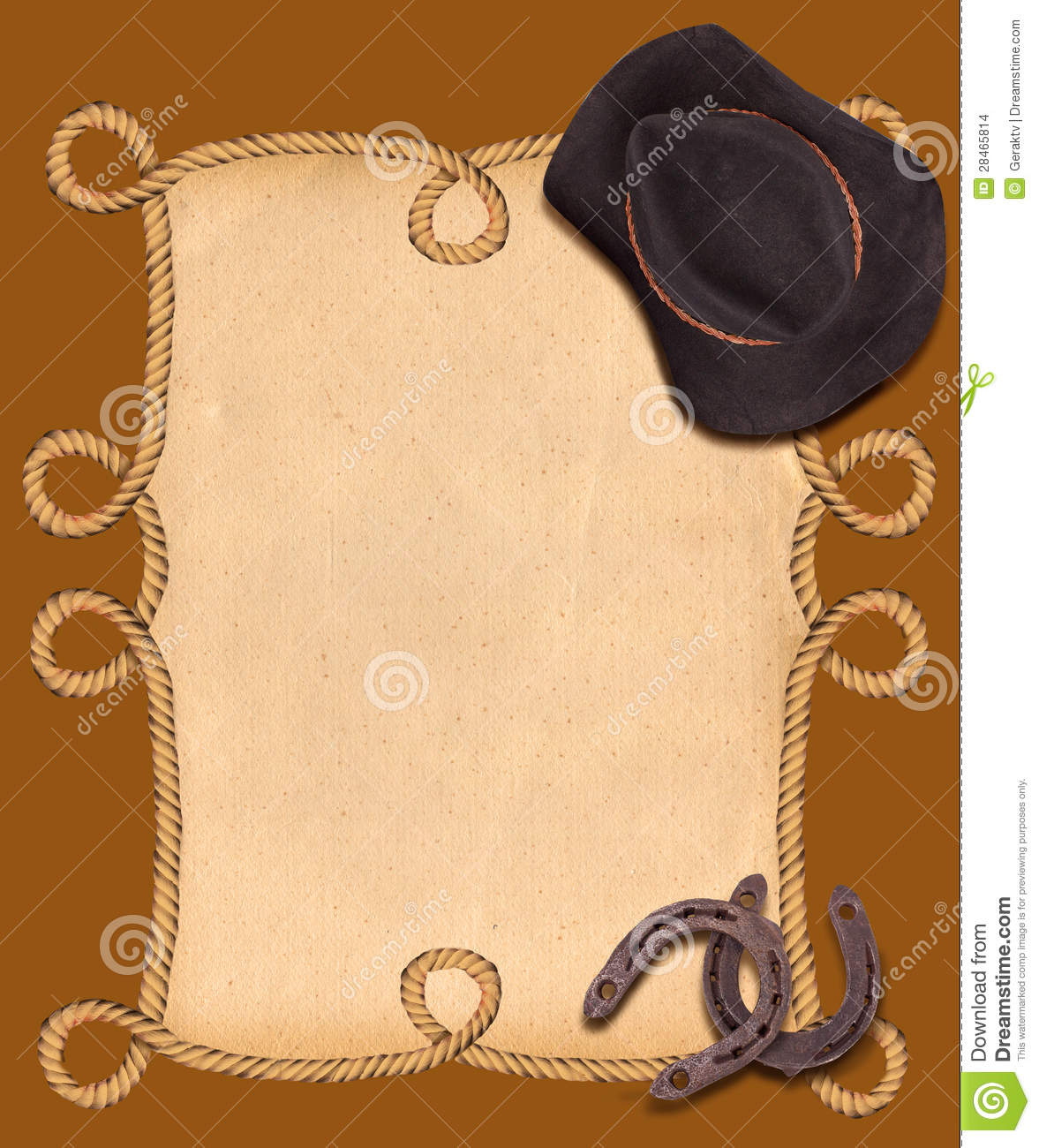 Western Background With Cowboy Hat And Horseshoes For Text ...