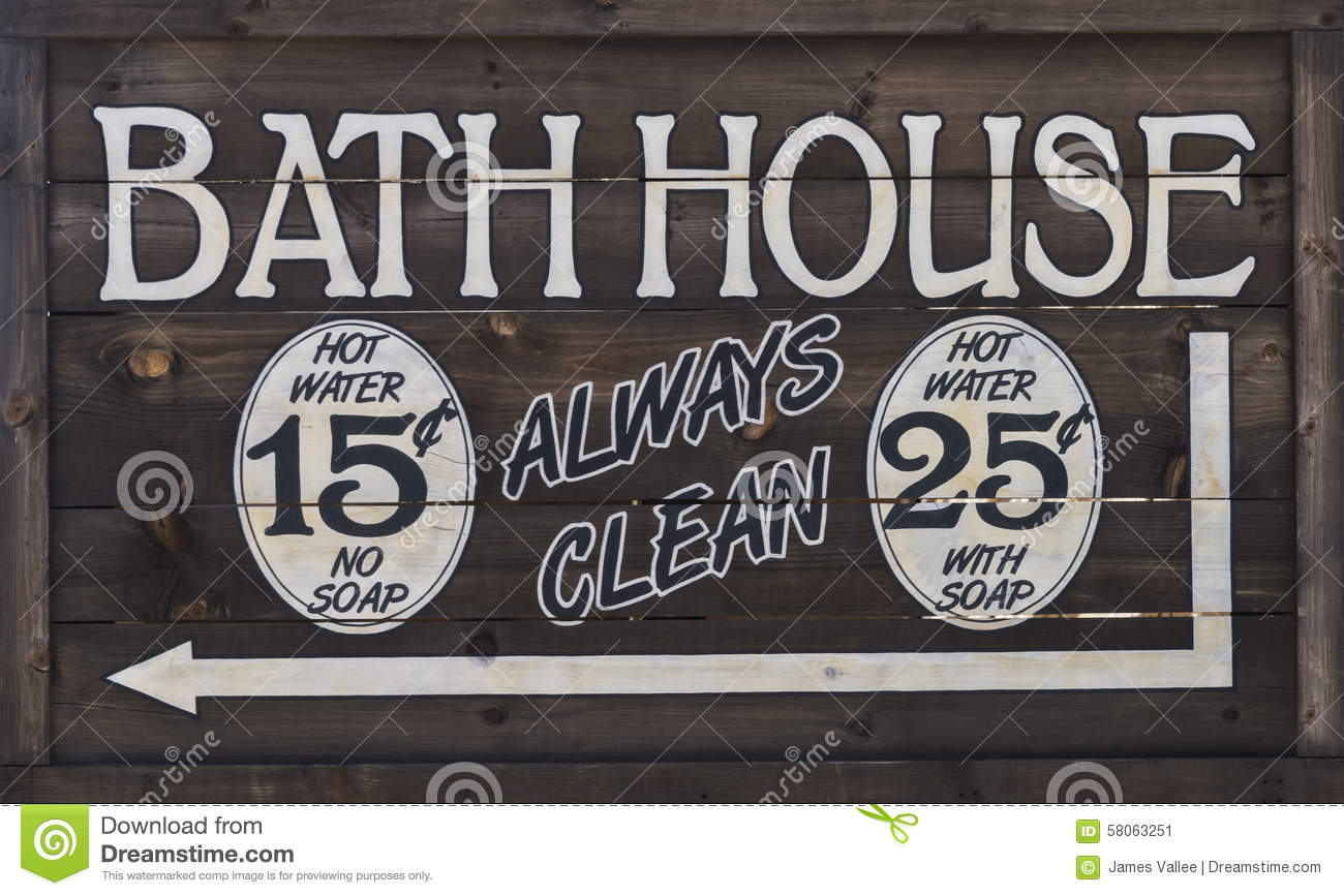 Western bathhouse sign stock image image of bathroom for Bath house shop