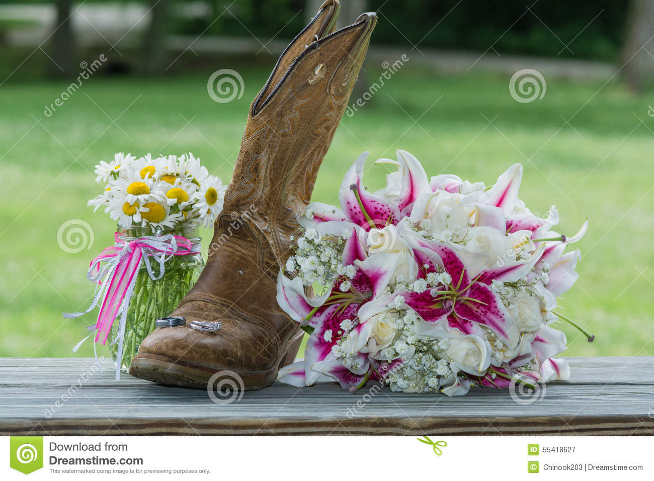 Western Booth With Bridal Bouquet And Rings Stock Image Image Of