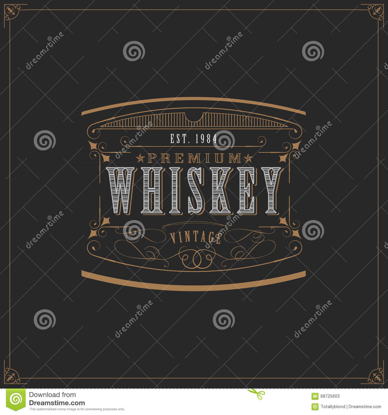 Western Design Template For Whiskey Label Stock Vector - Image ...