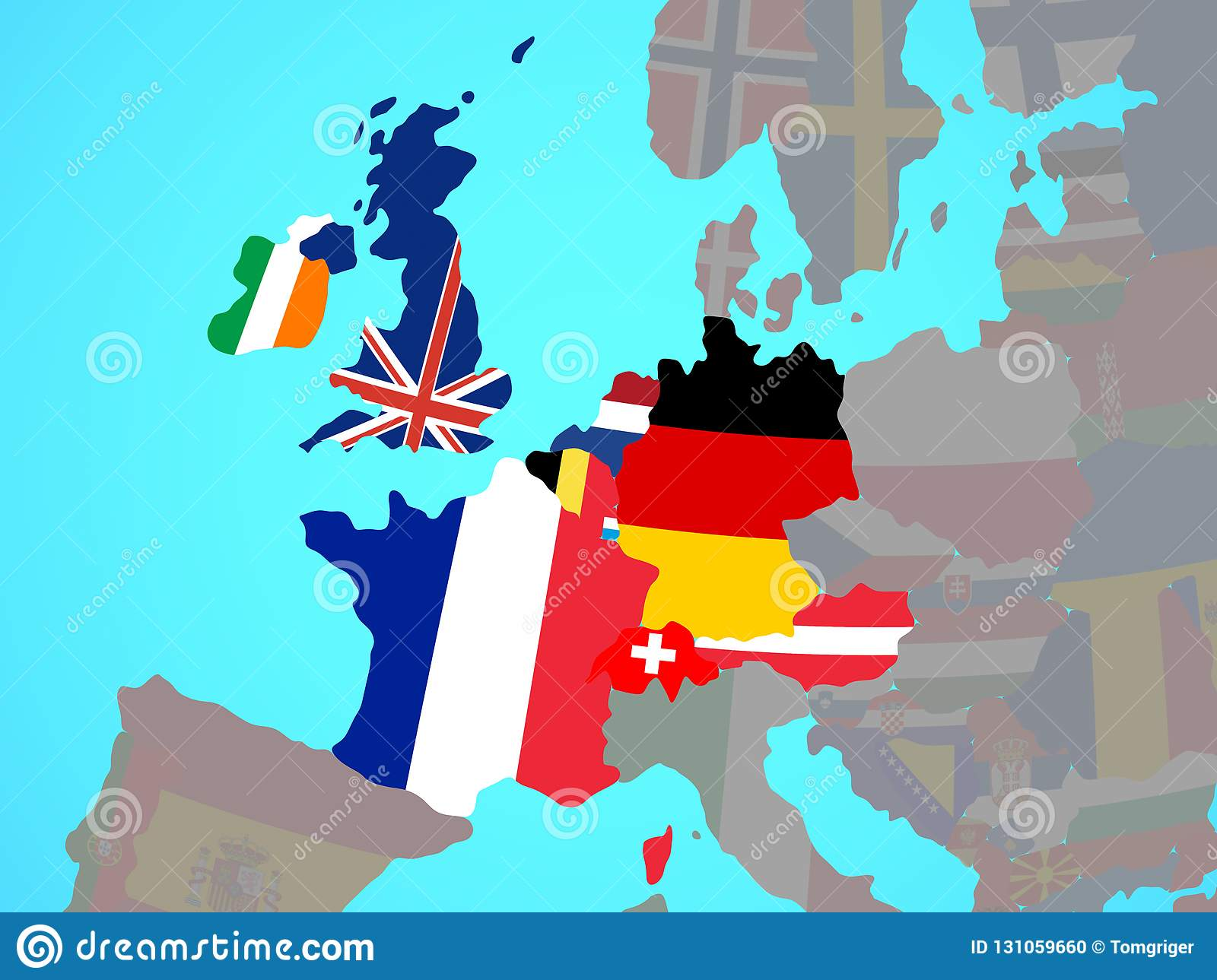 Western Europe With Flags On Map Stock Illustration ...