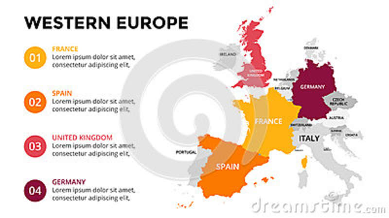 Western Europe Map Infographic Slide Presentation Global Business