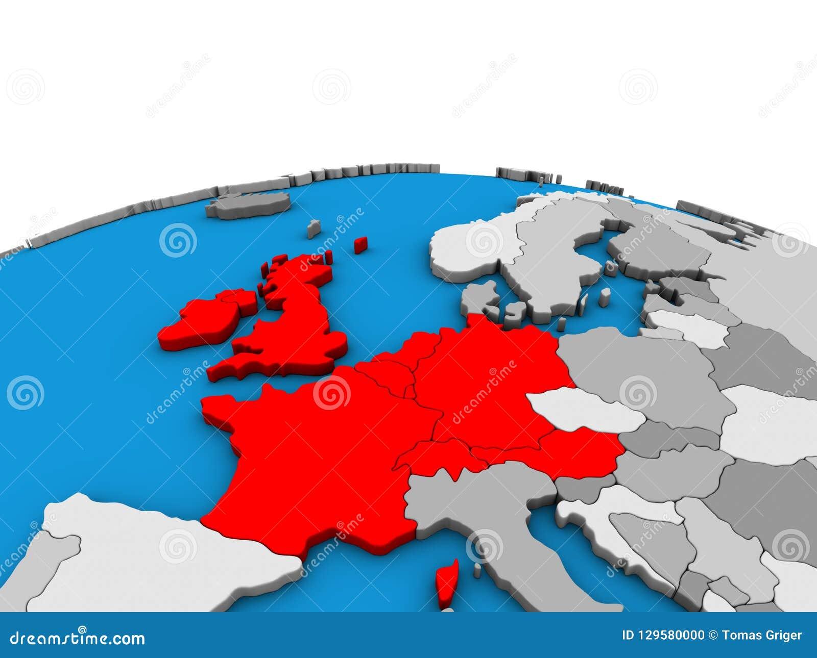 Map Of Western Europe On 3D Globe Stock Illustration - Illustration ...