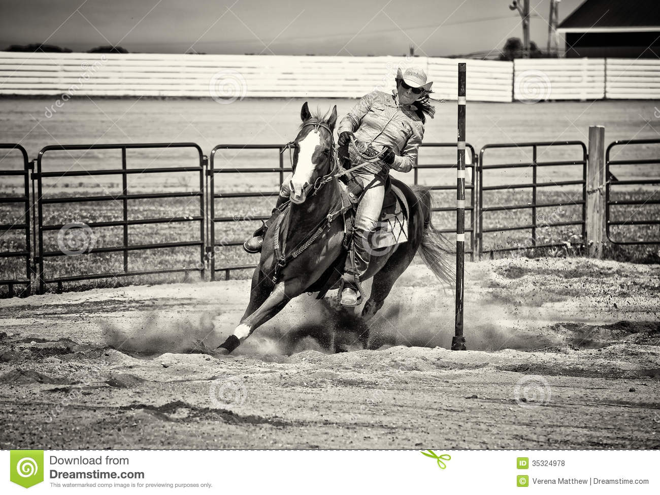 Western Horse Pole Bender In Gritty Sepia Stock Photo Image Of Equine Saddle 35324978