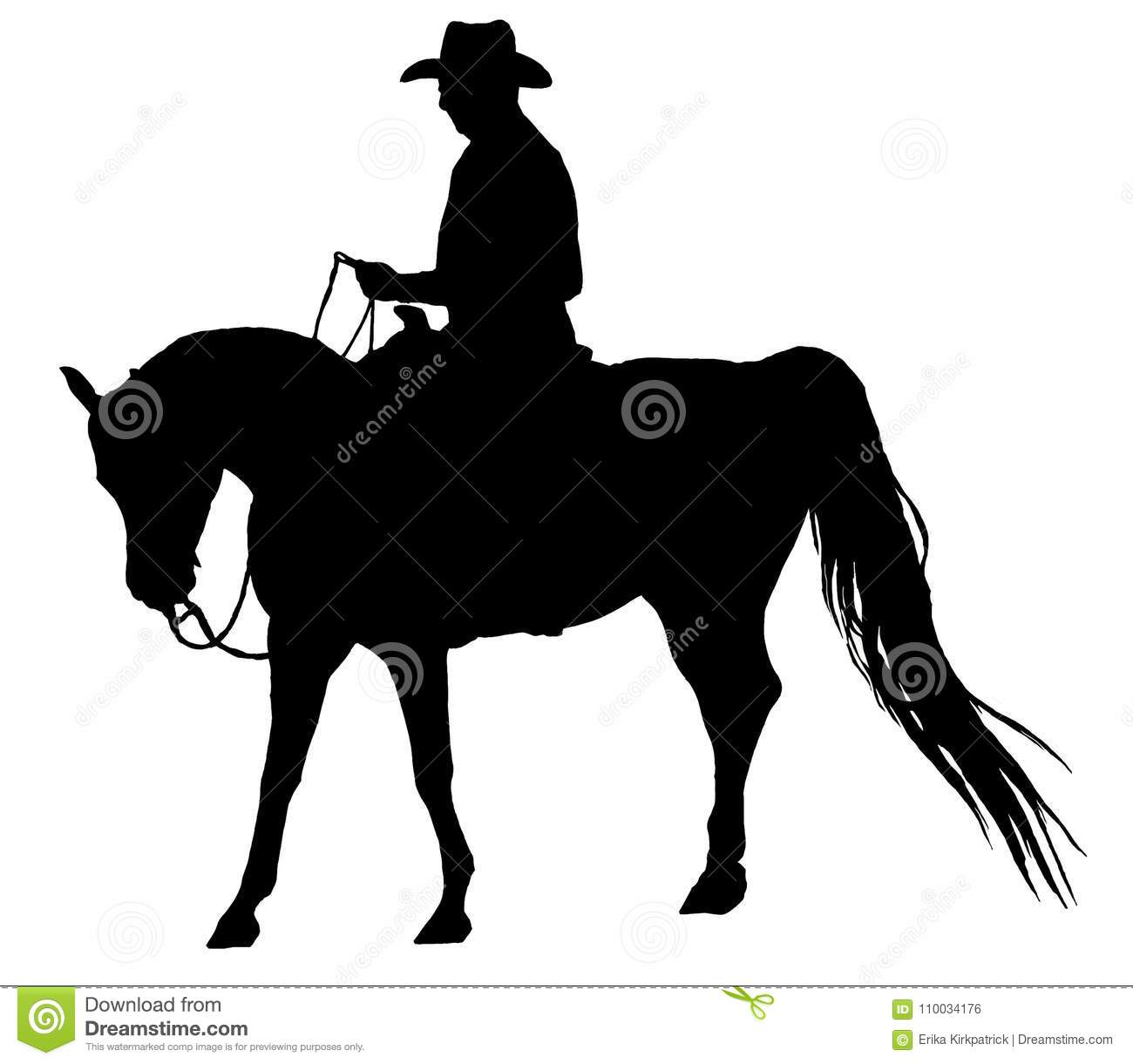 Western Horse And Rider Silhouette Isolated Stock Illustration Illustration Of Elegance Compete 110034176