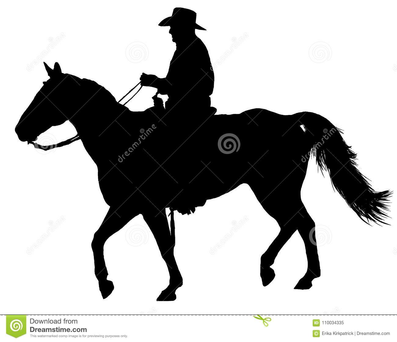 Western Horse And Rider Silhouette Isolated Stock Illustration Illustration Of Arabian Flagged 110034335