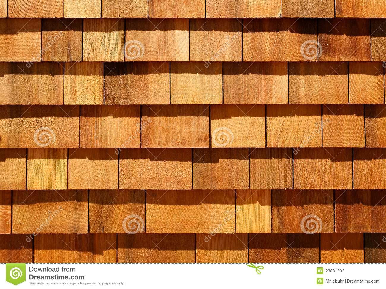 Western Red Cedar Wood Shingles As Wall Siding Stock Image