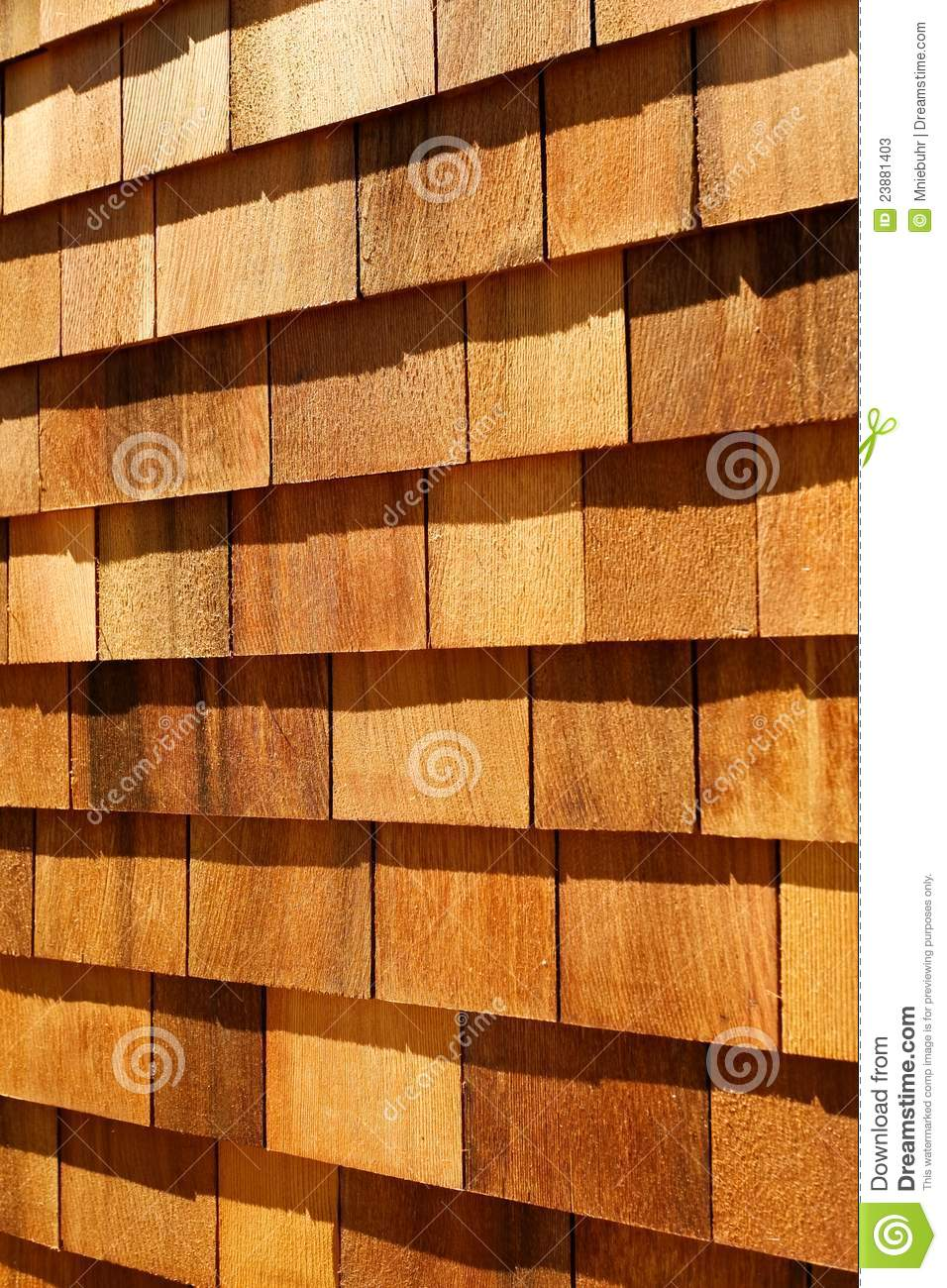 Western Red Cedar Wood Shingles Wall Siding Stock Image
