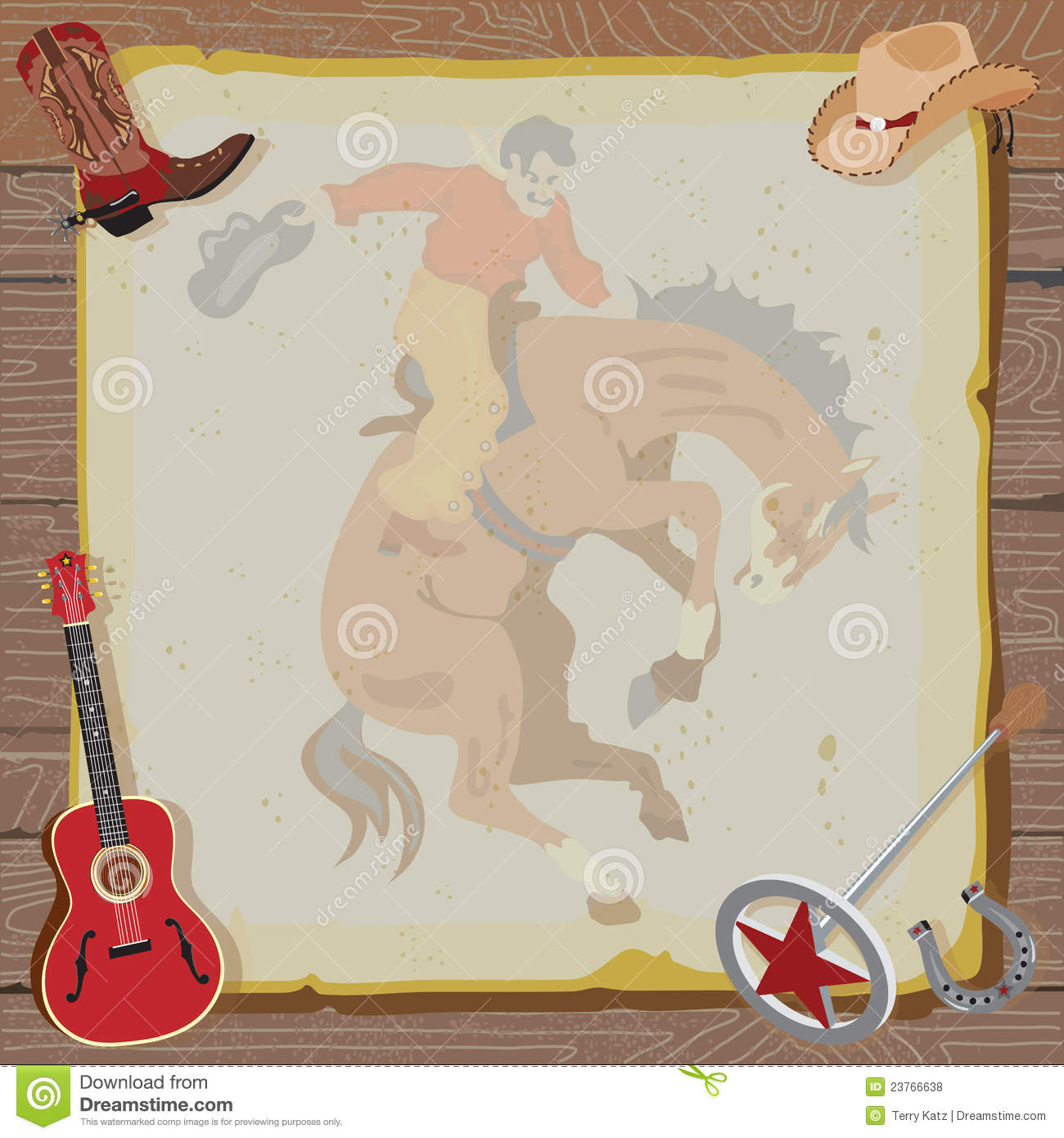 Western Rodeo Cowboy Party Invitation Stock Vector Illustration Of - Cowboy birthday invitation template