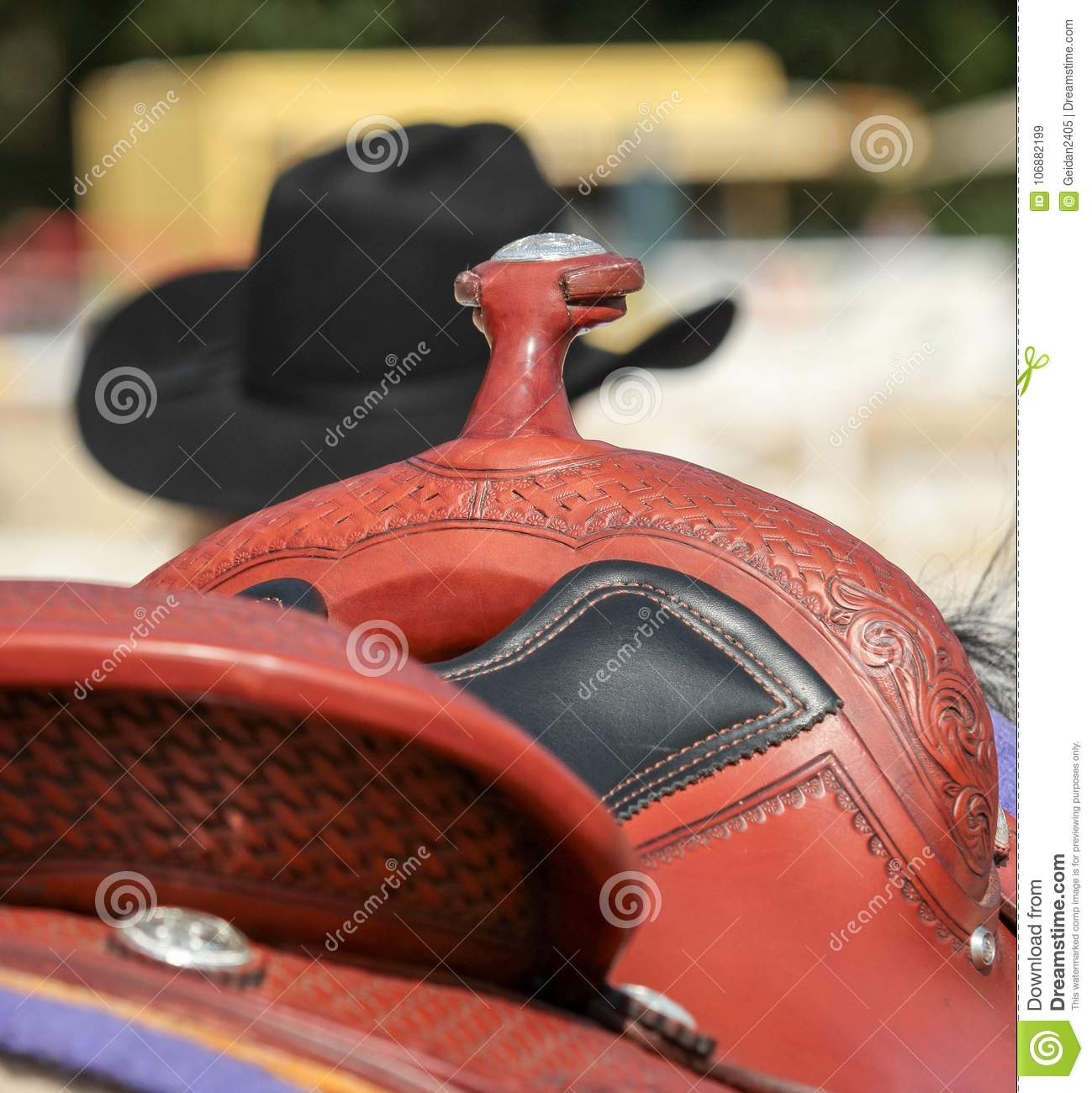 Western saddle with cowboy hat and leather harness