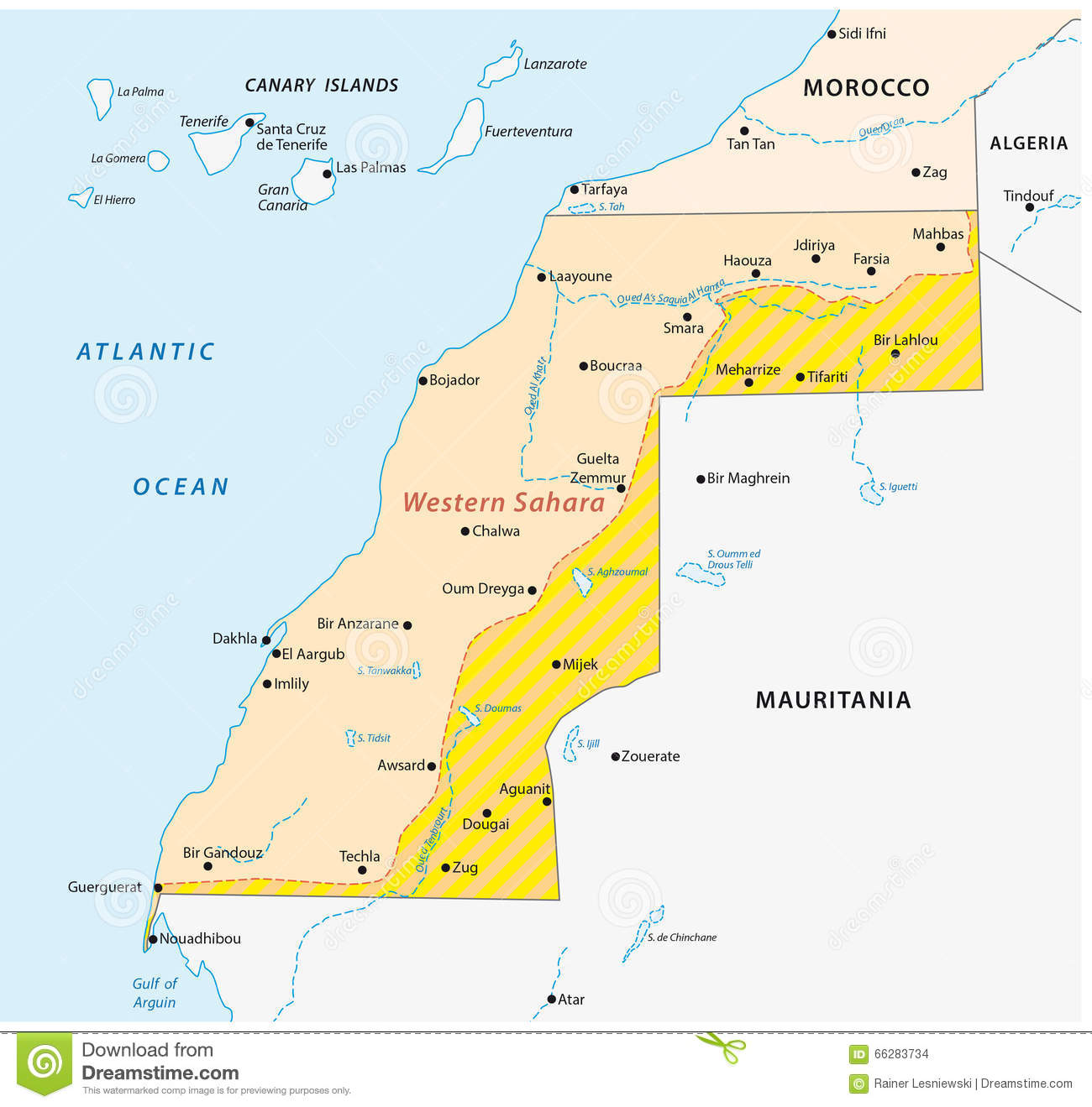 Western Sahara Map Stock Illustration Image Of Border - Western sahara map
