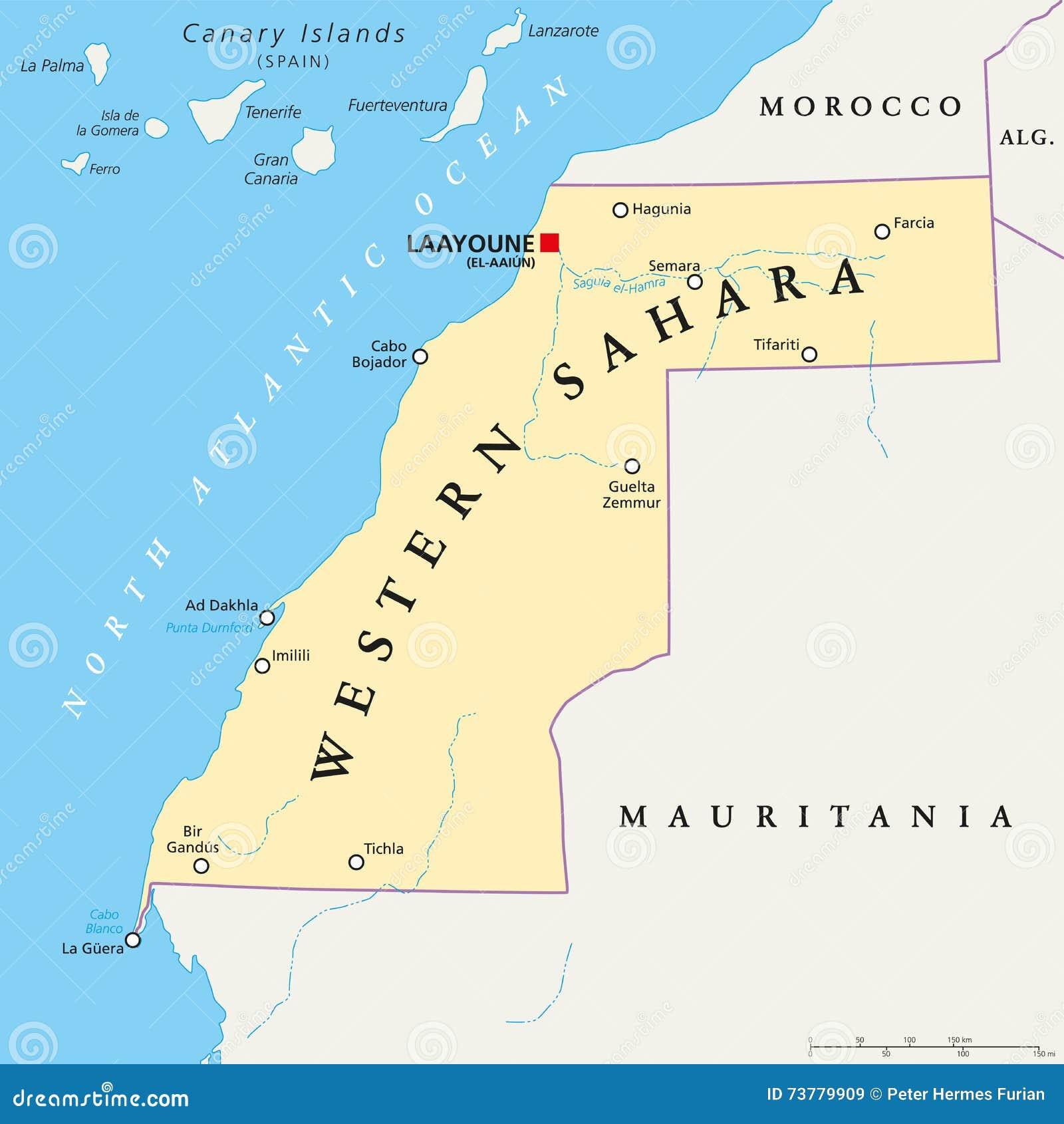Morocco And Western Sahara Political Map Stock Vector Illustration