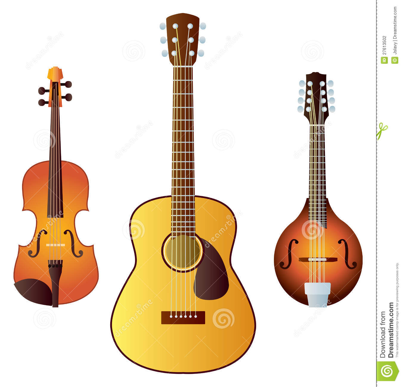 Three common western stringed instruments - a violin, a guitar and a ...