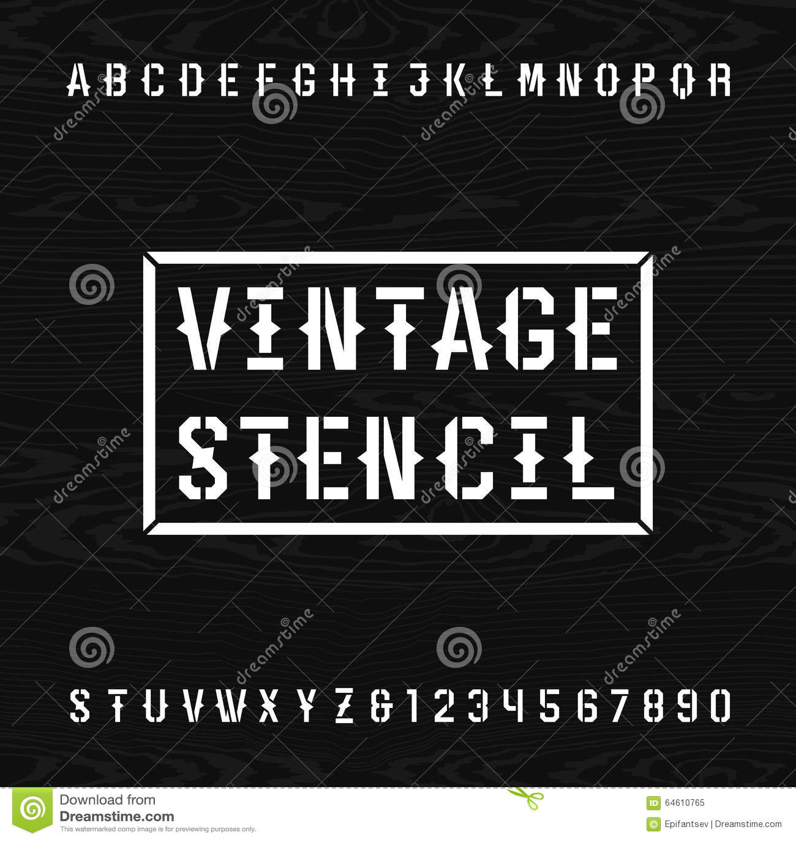 western style retro stencil alphabet vector font