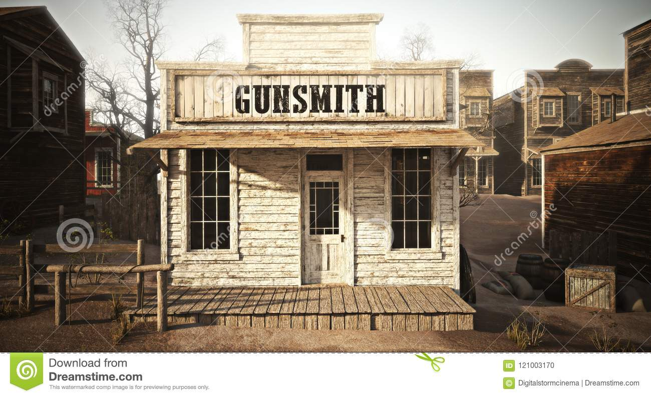 Western town rustic gunsmith weapons and ammunition`s supply store.