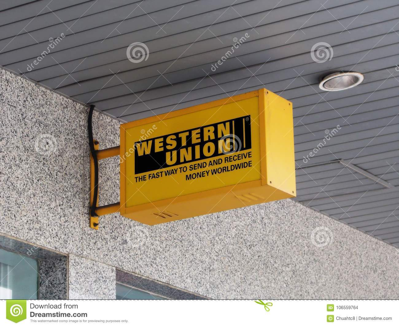 Western Union Electric Signboard Editorial Stock Image