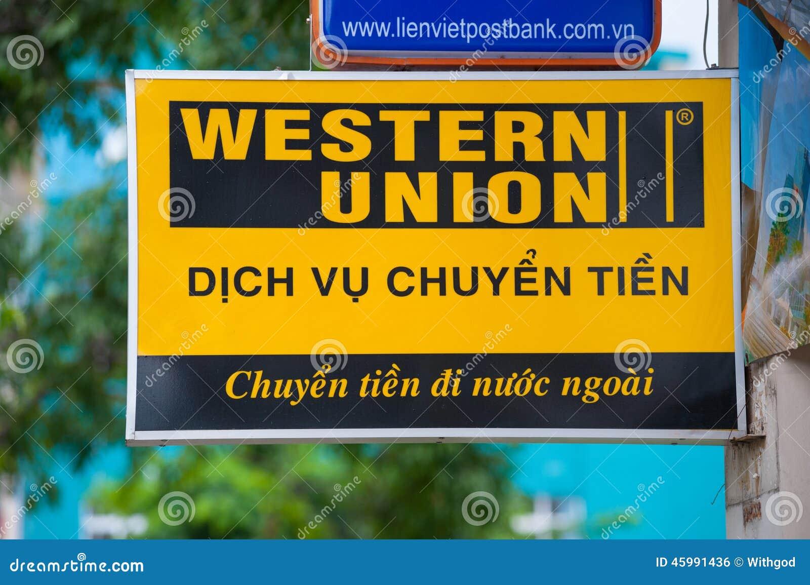 Western union - Western Union Signboard In Saigon Editorial Photo