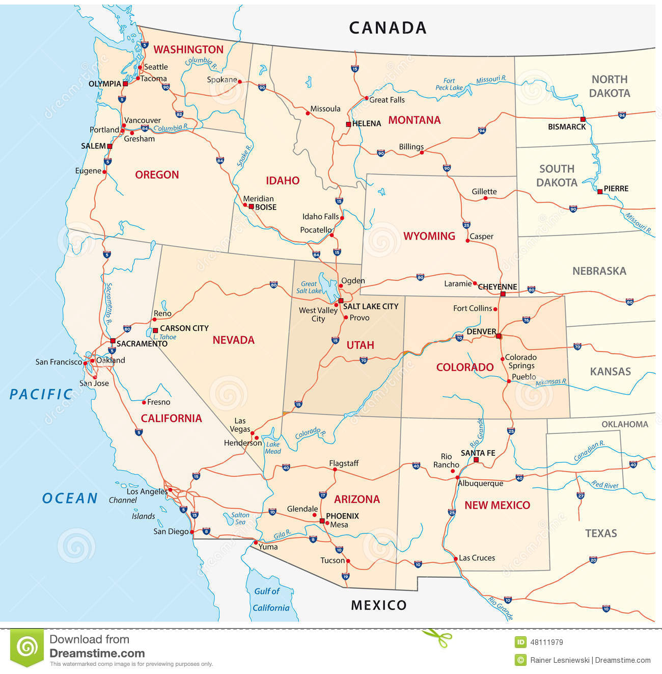 Vector Map Usa West Coast Largest Stock Vector Western Western Us Map With Cities