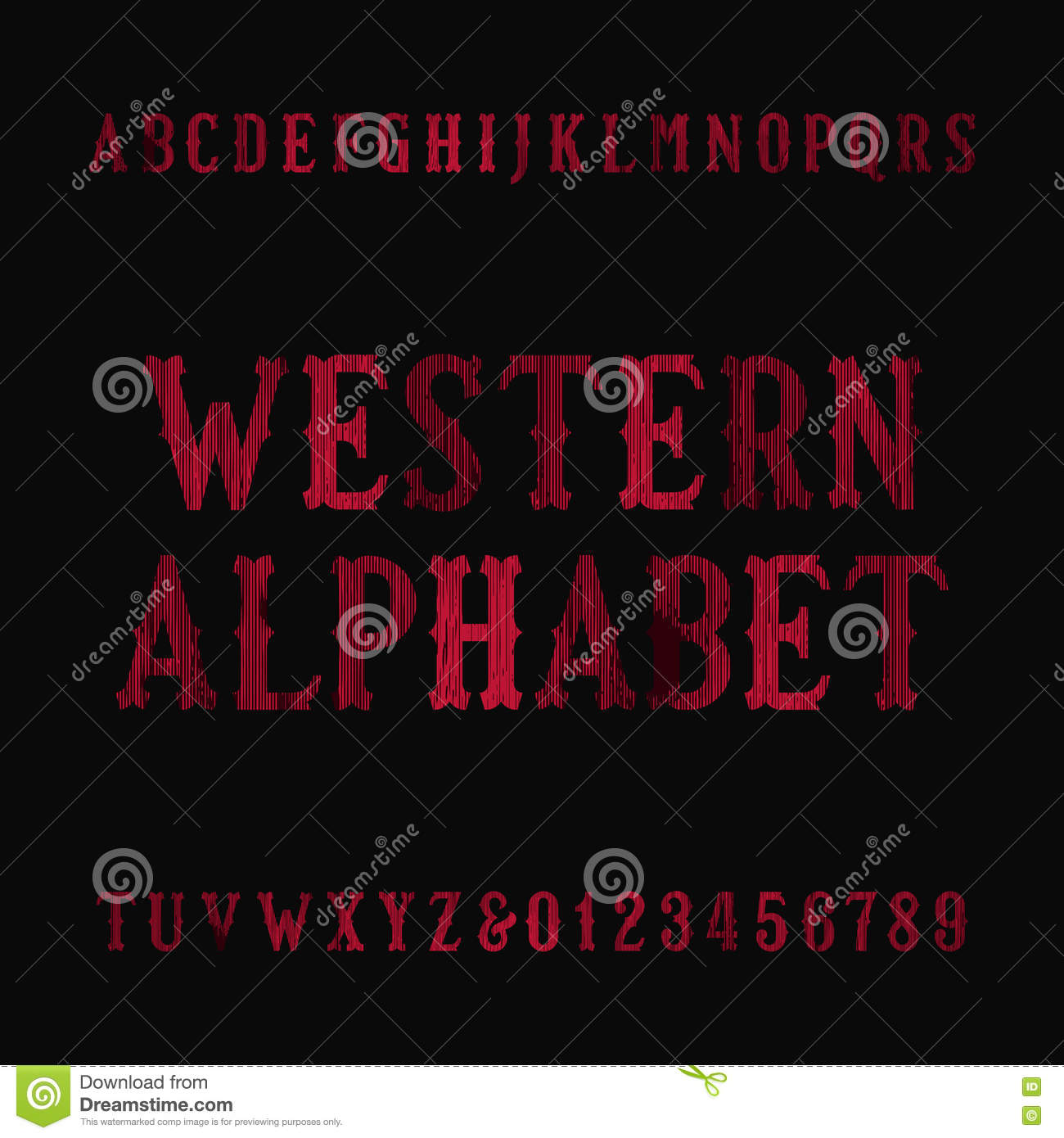 Western Vintage Alphabet Font  Distressed Serif Letters And