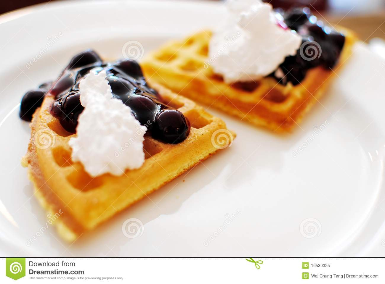 Western Waffles With Cream And Berry Toppings Royalty Free Stock Photo ...