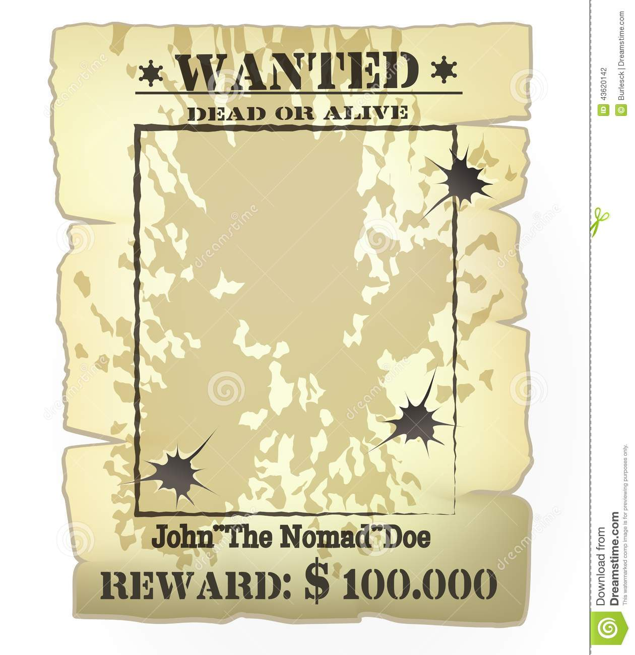 Western wanted poster stock vector. Illustration of blank - 43620142