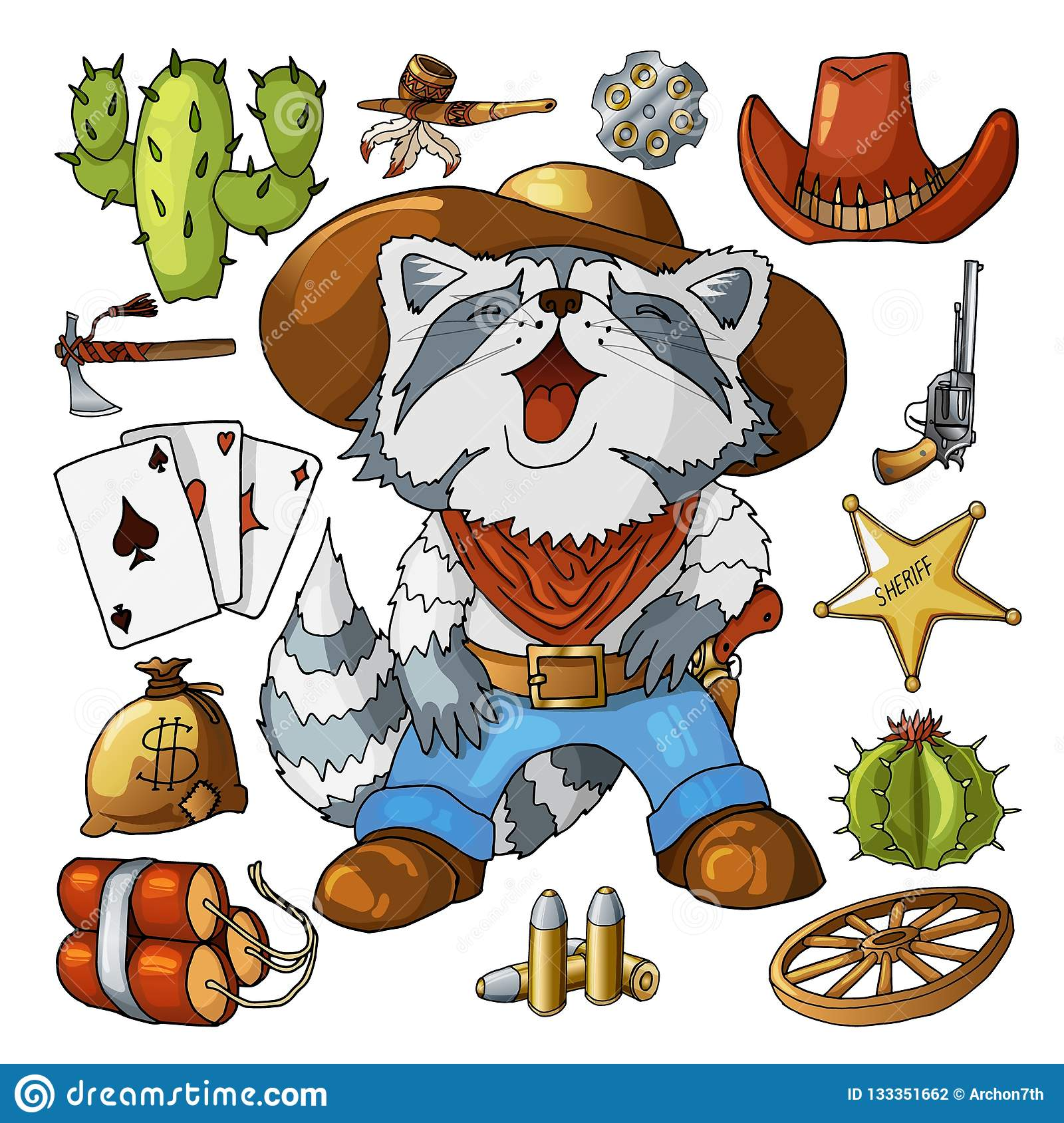 Western wild west art stickers set. Gun, bullets, cactuses and many other items