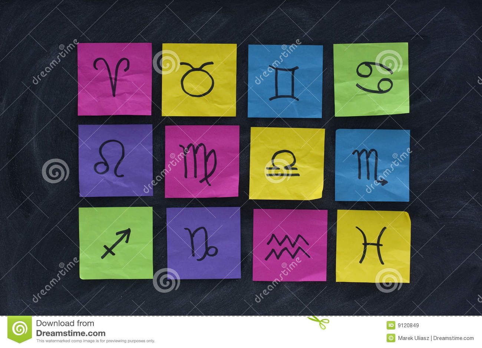 Western zodiac symbols on sticky notes