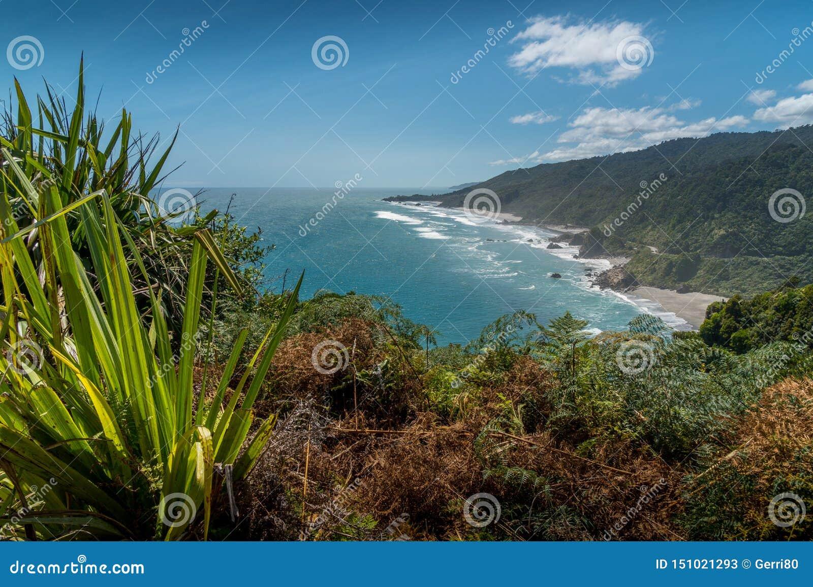 Westkust van het Zuideneiland van Nieuw Zeeland