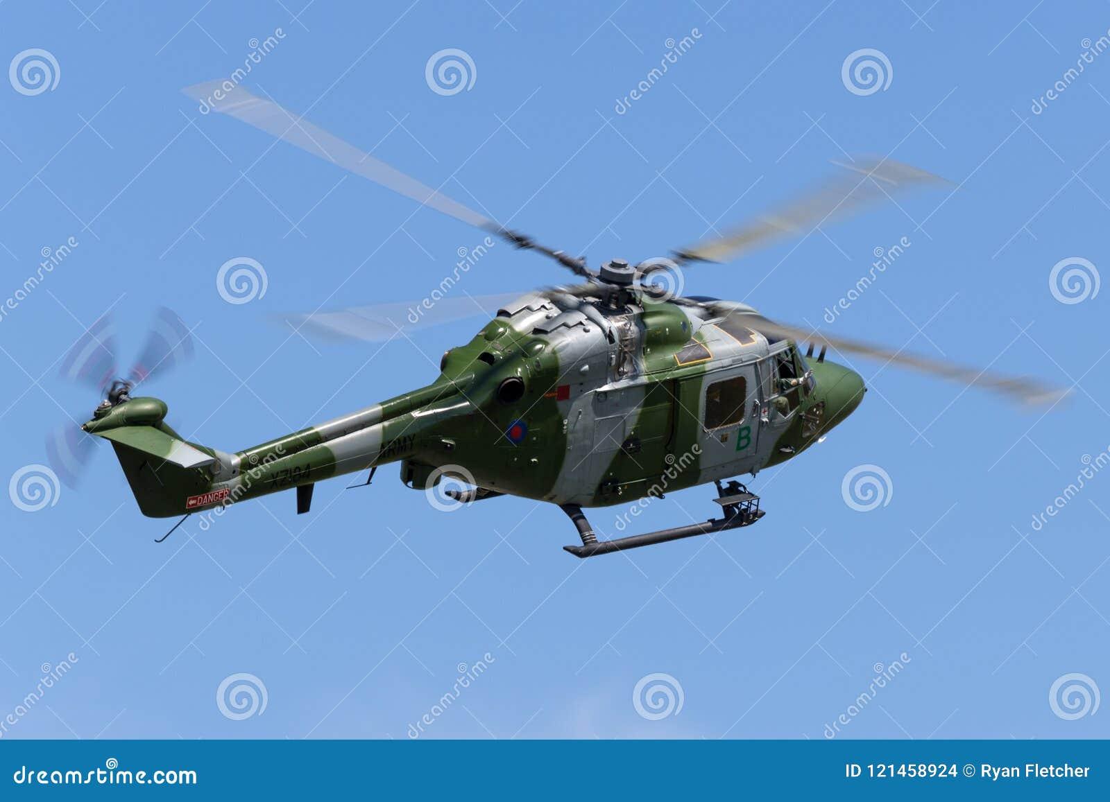 Westlandlynx AH 7 helikopter XZ184 van de Britse Korpsen van de Legerlucht