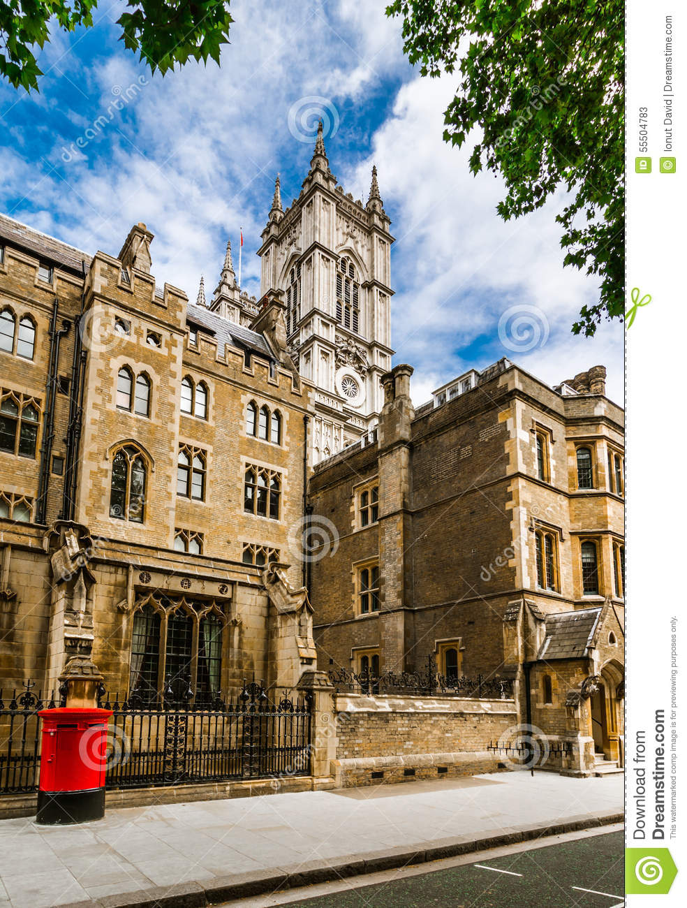 Westminster abbey: back street view, London